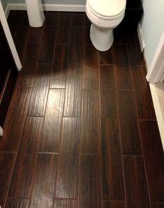 Tile that looks like wood. Wood-look tile. Bathroom floor tile.