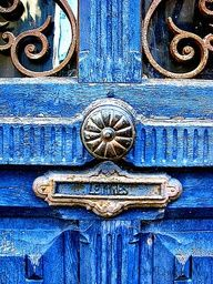 Antique blue door