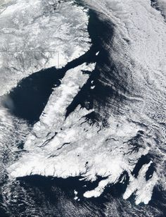 Satellite view of Newfoundland and part of Labrador. Newfoundland And Labrador, Island Tattoo, Atlantic Canada, World Geography, Prince Edward Island, Beautiful Islands, Australia Travel, Aerial View, Travel