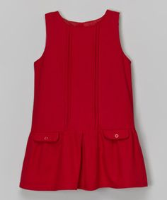 Red Pocket Drop-Waist Dress - Toddler & Girls