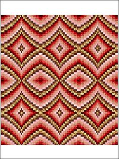 Bargello using 9 fabrics, not a fan of the color story depicted as it seems harsh but water tones or jewel tones of purple, blue and green could be more restful on the eye