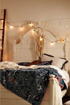 Комната, гирлянда, кровать, спальня, интерьер, декор