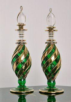 Antique Bottles, Vintage Perfume Bottles, Egyptian Perfume Bottles, Bottle Jewelry, Clock Art, Beautiful Perfume, Hand Blown Glass, Glass Bottles, Glass Art