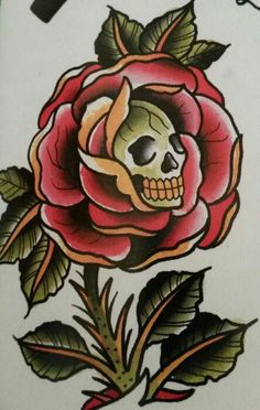 "Traditional/old school tattoo, Jeromey ""tilt"" McCulloch, Ben Cheese, rose, skull"