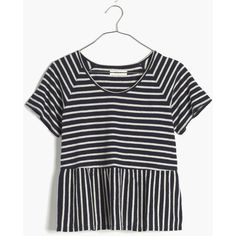 MADEWELL Swing Panel Tee in Stripe ($50) ❤ liked on Polyvore featuring tops, t-shirts, shirts, night vision, crop shirts, boxy t shirt, boxy tee, peplum tops and crop top
