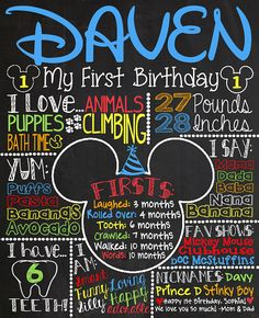 Mickey Mouse First Birthday Chalkboard 1st by CustomChalkPosters