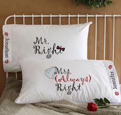 Buy Mr Right & Mrs Always Right Personalized Wedding Pillowcases you can customize with any names. Second Anniversary Gift, Wedding Anniversary Gifts, Anniversary Ideas, Cotton Anniversary, Personalized Pillow Cases, Personalized Wedding Gifts, His And Hers Bedding, Our Wedding, Dream Wedding