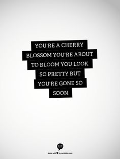 You're a cherry blossom, you're about to bloom. You look so pretty but you're gone so soon. Centuries, Fall Out Boy.