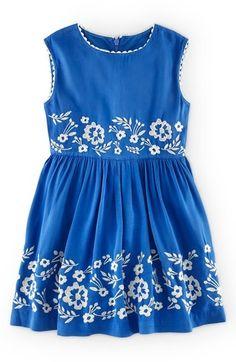 Darling! Mini Boden Embroidered Cotton Dress (Toddler Girls, Little Girls & Big Girls)