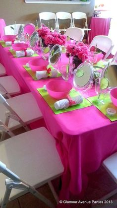Spa Party Birthday Party Ideas | Photo 18 of 37 | Catch My Party - like this setup with mirror, towel, placemat, etc....