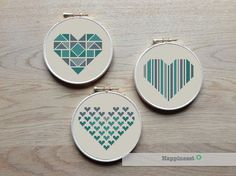 A set of 3 geometric heart patterns in my personal favorite colors. Try different color combinations and fabrics to create a new look every time!