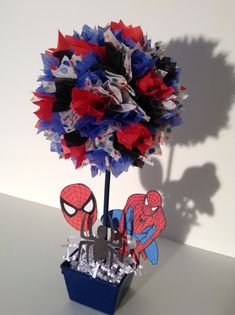 Spiderman Birthday party Decoration, centerpiece by AlishaKayDesigns on Etsy