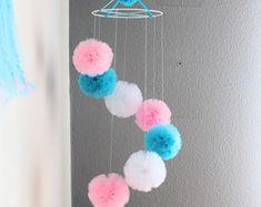 Tulle pom pom mobile Baby mobile Decorative by PomPomMyWorld