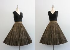 1950s Skirt / Vintage 50s Circle Skirt / Pleated by HolliePoint, $68.00