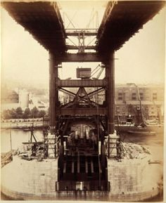 London's Tower Bridge under construction. The construction of Tower Bridge was begun in and the bridge was finished in Victorian Life, Victorian London, Vintage London, Old London, Old Pictures, Old Photos, Tower Bridge London, London History, London Photography