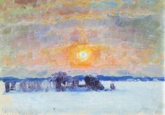 Eero Järnefelt was one of the most important figures in the golden age of Finnish art. He is best known for capturing the majestic landscapes of Koli and as a master of portraiture. Chur, Abstract Landscape, Landscape Paintings, Abstract Art, Landscapes, Happy Winter Solstice, Russian Painting, Art Database, Contemporary Paintings