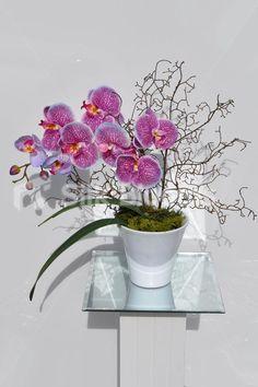 Gorgeous Artificial Pink Phalaenopsis Orchid and Moss Floral Table Arrangement #artificialflowers #interior #design #decor #flowers #arrangement #flowerarrangement