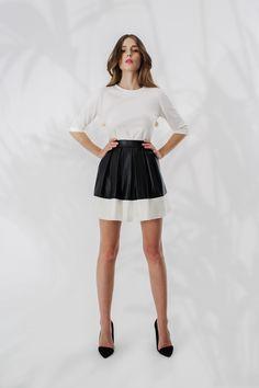 Skórzana spódnica plisowana