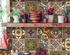 Mexican Terracotta Tile/Wall/Stair Stickers, Removable Decal for Kitchen /Bathro. - Mexican Terracotta Tile/Wall/Stair Stickers, Removable Decal for Kitchen /Bathroom/ Door/ Floor/ Fr - Tile Decals, Wall Tiles, Room Tiles, Vinyl Decals, Mexican Colors, Mexican Tiles, Stair Stickers, Wall Stickers, Kitchen Stickers