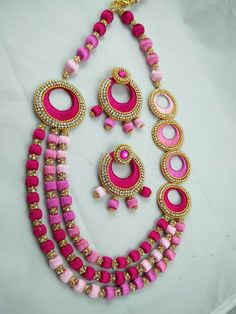 Silk thread jewellery sets. Multi strands pink color necklace