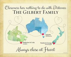 Long Distance Gift for Family, Personalized Present for Mom and Dad, Moving Away Gift, Birthday Gift for Family, Family Quote  #CanadaMap #AustraliaMap #NewZealandMap #LongDistanceFamilyGift #CustomFamilyPrint