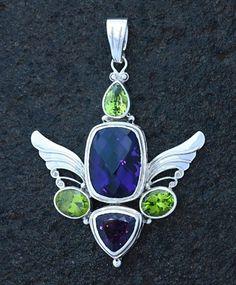 Gem Stone Energy Descriptions:  Amethyst: Creativity and Spiritual Strength,  Peridot: Healing, Wisdom & Cleansing,  Sterling Silver Gemstone Pendant.