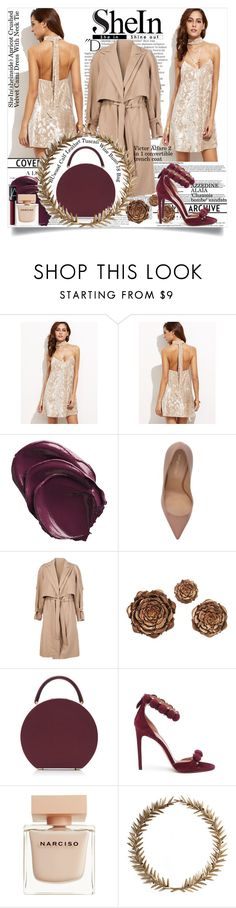 """""""SHEIN - Apricot-Crushed-Velvet-Cami-Dress-With-Neck-Tie"""" by fashionaddict-il ❤ liked on Polyvore featuring Balmain, Sergio Rossi, Victor Alfaro, Home Decorators Collection, BUwood, Alaïa, Narciso Rodriguez, Bliss Studio and NARS Cosmetics"""