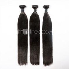 3pcs/lot 18inch Human Remy Hair Silk Straight Hair Weft Mongolian Virgin Hair Extensions 100% Human Hair Weaves - USD $100.99
