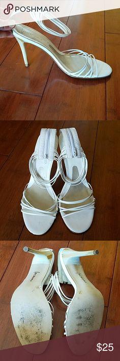 BCBGIRLS WHITE STRAPPY HEELS SEXY BCBGIRLS WHITE STRAPPY HEELS.  WORN ONCE, NO SCUFFS OR MARKS ON HEELS. BCBGirls Shoes Heels