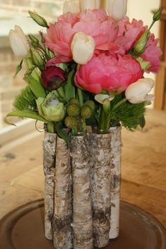 birch bark test tube vase