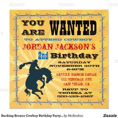 Bucking Bronco Cowboy Birthday Party Invitaiton 5.25x5.25 Square Paper Invitation Card | rodeo