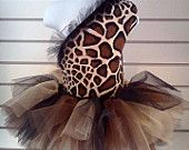 Giraffe top and  tutu with matching bow