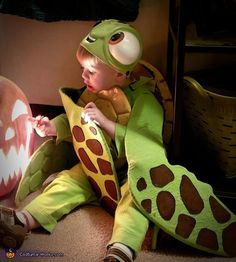 This is my 2 year old son Jax, who is dressed as squirt from finding dory. Finding dory is one of his favorite shows and squirt most fits his personality is how we came up with the costume. How I made the costume is all. Photo 5 of Halloween Costume Contest, Costume Ideas, Holidays Halloween, Halloween Diy, Costume Works, Creative Costumes, Finding Dory, Party Time, Dinosaur Stuffed Animal