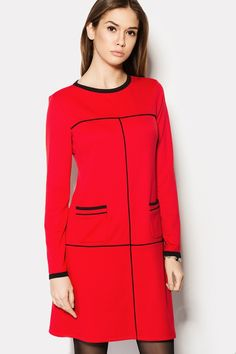 Купить красное платье BRENDY с черными кантами в брендовом бутике TM CARDO