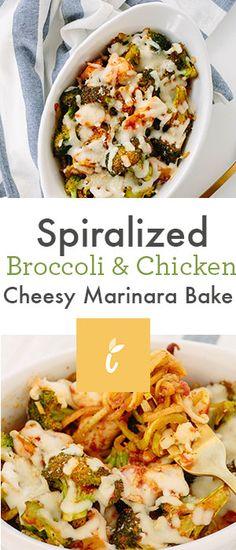 Spiralized Broccoli & Chicken Cheesy Marinara Bake