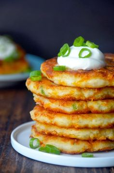 CHEESY MASHED POTATO PANCAKES-good for leftover mashed potatoes. As if there would ever be leftovers. Ha.