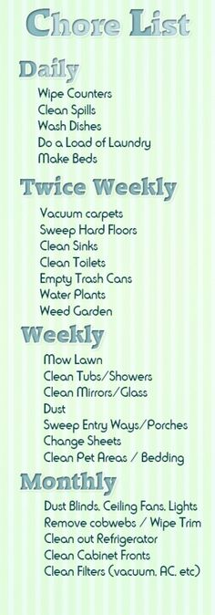 If only taking care of chores were as easy as making this list: family chore list