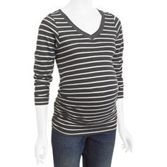 Oh! Mamma Maternity Striped V-Neck Tee with Flattering Side Ruching