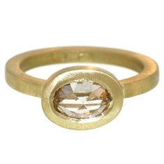 Modern Cognac Diamond Ring | From a unique collection of vintage bridal rings at https://www.1stdibs.com/jewelry/rings/bridal-rings/