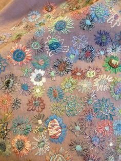 Embroidered linen scarf by Sophie Digard - Interesting - I must try this on a beautiful, but plain scarf.