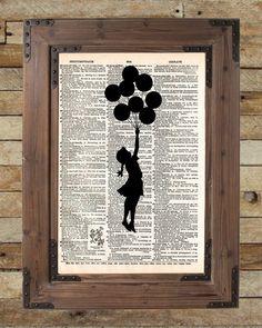 Banksy Girl with Balloons, street art, banksy print, vintage dictionary page book art print -  - 2