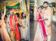 A peach lehenga covered with silver lace paired with a fushia net dupatta for Real Bride Punita Hemnani of WeddingSutra. #weddingsutra #bridallehenga #lehenga #Indianbride #Indianoutfit #bridallook #weddingideas #desibride #bride #bridaloutfit #designer #peach #silver #lace
