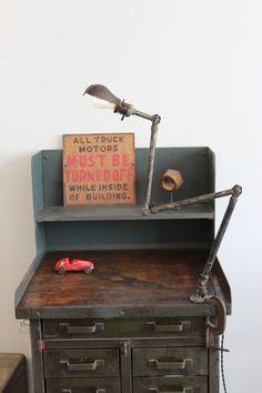 Vintage Industrial Ajusco Factory Desk Lamp/ Light w/ Cast Iron Mount - Industrial Design Furniture, Vintage Industrial Furniture, Rustic Industrial, Reclaimed Furniture, Industrial Lamps, Industrial Storage, Refinished Furniture, Furniture Design, Industrial Workbench
