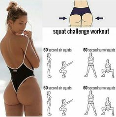 Had to share this killer squat workout! 🍑It's perfect for ALL fitness levels - just extend the time to 3 or 4 mins per exercise 👆🏽 LIKE… Fitness Workouts, Fitness Apps, Toning Workouts, Body Fitness, At Home Workouts, Health Fitness, Workout Tips, Fitness Life, Workout Videos
