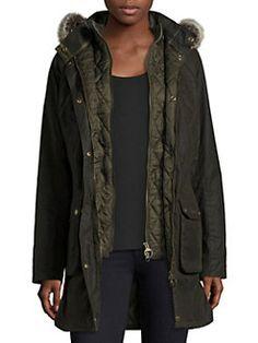 037e808292d5c Barbour - Waxed Cotton Faux Fur Jacket Faux Fur Hoodie