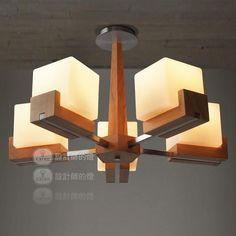 Gratis shippingdesigner lamp woonkamer slaapkamer lamp restaurant lichten van amerikaanse eiken blokjes houten plafond eenvoudige ideeën