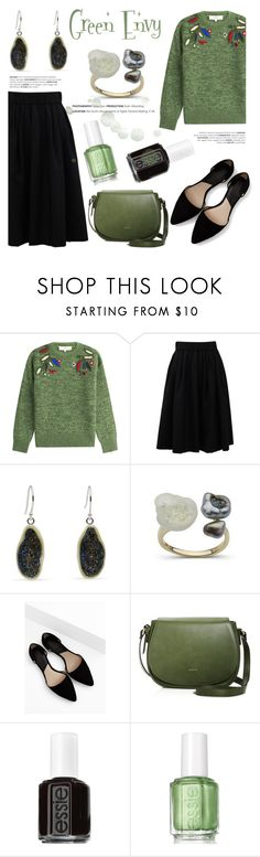 """""""Green With Envy: Wintery Nail Polish"""" by littlehjewelry ❤ liked on Polyvore featuring beauty, Vanessa Bruno Athé, Brunello Cucinelli, MANGO, Angela Roi, Essie, contestentry, nailedit, pearljewelry and littlehjewelry"""