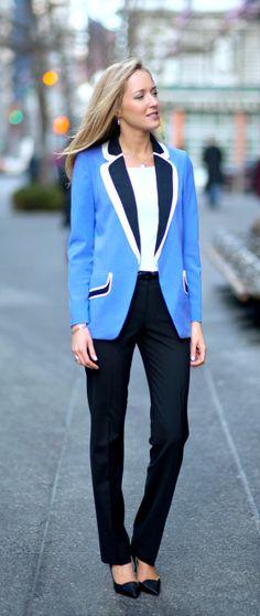 Periwinkle Colorblock Blazer | www.pinterest.com/versique/womens-corporate-business-fashion-attire-community/