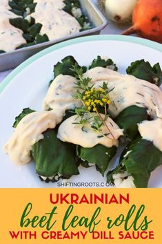 Ukrainian beet leaf rolls with creamy dill sauce will be your new vegetarian comfort food. It's an easy cabbage roll recipe stuffed with rice and baked into a delicious casserole--just like Mom used to make. Vegetarian Casserole, Vegetarian Comfort Food, Vegetarian Recipes, Cooking Recipes, Vegetarian Cabbage, Vegan Meals, Easy Cabbage Rolls, Cabbage Rolls Recipe, Easy Rolls