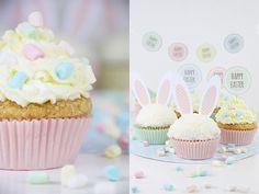 -DIY- Süße Cupcakes im Osteroutfit! Mit Rezept und kostenlosen Download  http://barfussimnovember.com